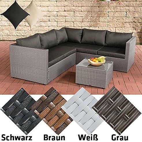 Rattan lounge anthrazit  CLP Poly-Rattan Lounge-Set LIBERI, Aluminium-Gestell (3er Sofa + ...