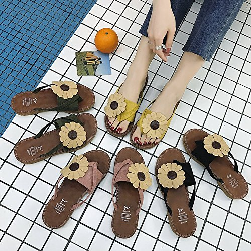 Amarillo Sandalias de Flores Color Diseño ITTXTTI para Mujer x0Ovw1pqB