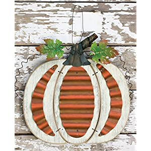 Rustic Wood and Metal Harvest Pumpkin Hanging Autumn Decoration with Metal Leaves and Stem 89