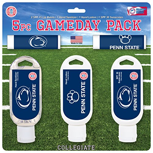 Worthy Promo NCAA Penn State Nittany Lions 5-Piece Game Day Pack with 2 Lip Balms, 1 Hand Lotion, 1 Hand Sanitizer, 1 SPF 30 Sport Sunscreen