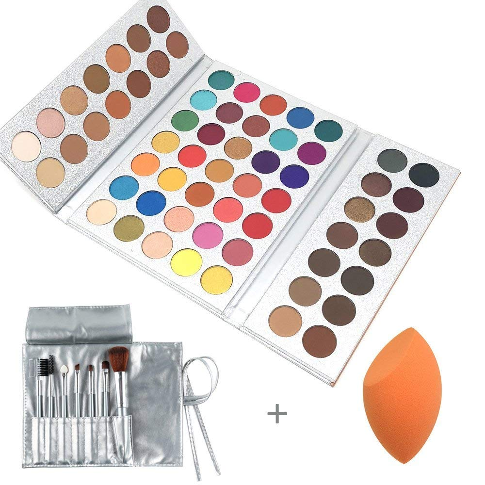 Beauty Glazed Make Up Palettes 63 Shades Eyeshadow Pigmented Matte Colors Long Stay On Soft and Smooth + Powder Sponge Blender + Make Up Brushes Set by Beauty Glazed (Image #1)