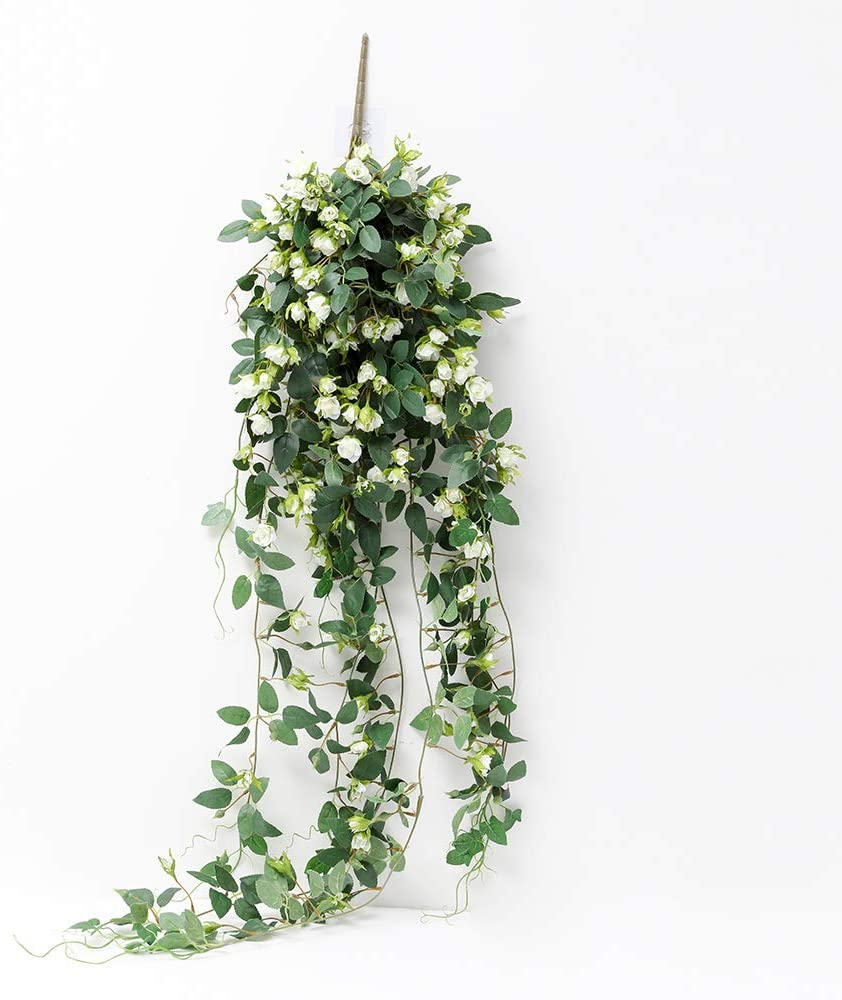 JUSTOYOU Artificial Hanging Rose Vine Plants 5FT Long Fake Flower Greeny Chain Wall Home Room Garden Wedding Indoor Outdoor Decorative (White)