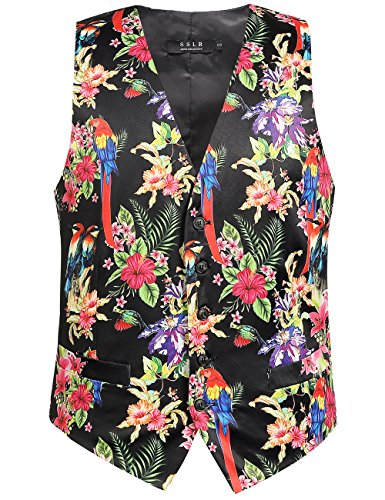 SSLR Men's Hawaiian Waistcoat Casual Flower Suit Vest (X-Large, Black)]()