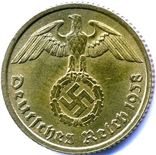 - Penny Authentic Antique Nazi Germany 10 Reichspfennig Brass Swastika Coin