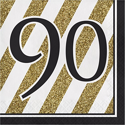 Black and Gold 90th Birthday Napkins, 48 ct]()