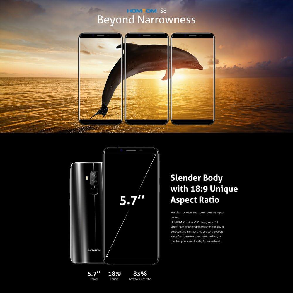 homtom S8 - Smartphone 4G, 5,7 pulgadas, proporción carcasa-pantalla 18:9, Android 7.0, 4 GB Memoria, 64 GB ROM Octa-Core, 16.0 MP + 5.0MP Dual Rear + 13.0MP Cámara frontal, carga rápida 3400 mAh,