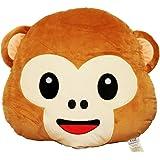 EvZ 32cm Emoji Smiley Emoticon Brown Round Cushion Stuffed Plush Soft Pillow