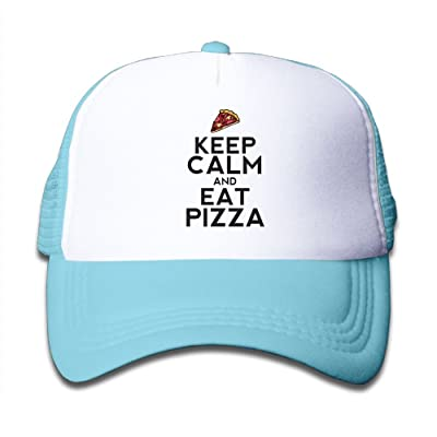 NO4LRM Kid's Boys Girls Keep Calm and Eat Pizza Youth Mesh Baseball Cap Summer Adjustable Trucker Hat
