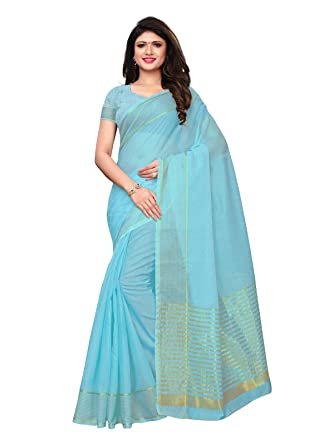 29dc277703 KANCHNAR Women's Cotton Silk Woven Zari saree(929S12;Blue;Kota Doria ...