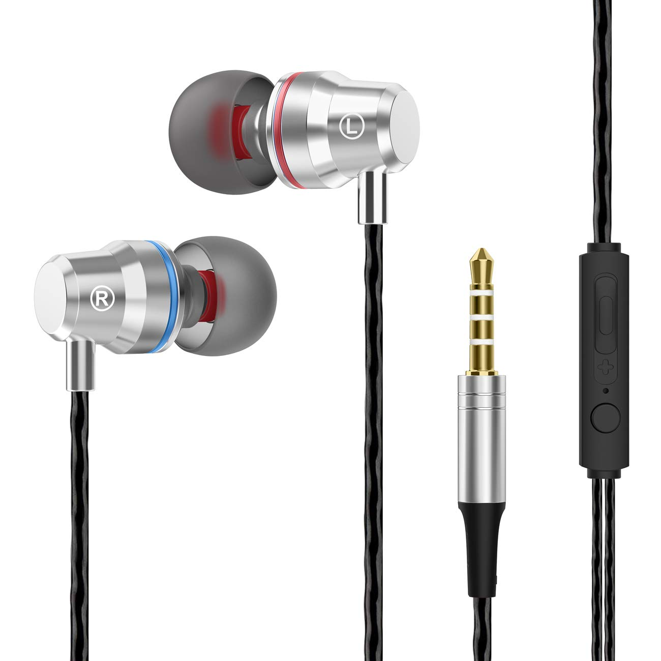 in-Ear Wired Earphones, Noise Cancelling Headphones with Microphone and Volume Control,3.5mm Ear Bud