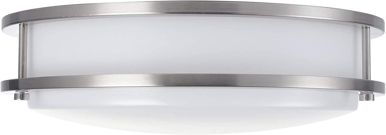 (1 Pack) 12-Inch Double Ring Dimmable LED Flush Mount Ceiling Light, 18W (95W Equivalent), 1500lm, 4000K Natural White, Brushed Nickel Finish with Plastic Shade, ETL Listed, Commercial or Residential