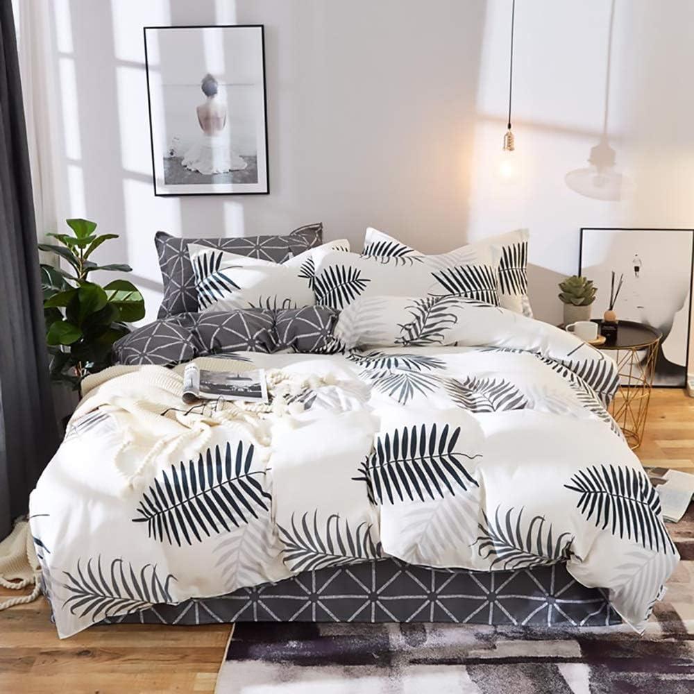ZHQHHX Active Printing and Dyeing beddengoed, 4-delig, dekbedovertrek, kussensloop, verschillende maten (kleur: wit, afmetingen: 180 x 220 cm)