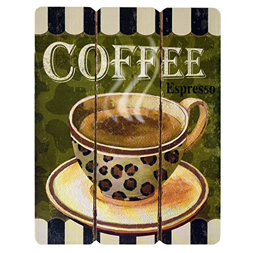 Coffee Kitchen Curtains Amazon Com: Coffee House Cup Mug Cafe Latte Java Mocha Wooden Hanging Wall Art Home Decor, Set Of 3 Modern
