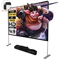 Portable Projector Screen with Stand 100 inch 16:9 HD 4K Outdoor Indoor Projection Screen for Home Theater 3D Fast-Folding Projector Screen with Stand Legs and Carry Bag Projection Movie Wrinkle-Free