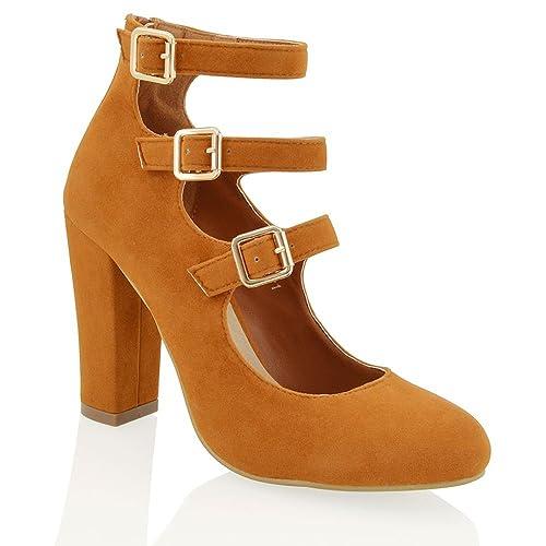 89a37498 ESSEX GLAM Zapatos Gamuza Sintetica DE SALÓN con TACÓN Cuadrado Y Hebillas para  Fiestas NOCTURNAS (