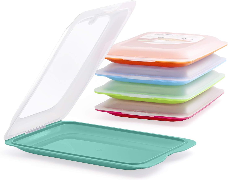 PracticFood - Lote de 5 Porta Embutidos y Alimentos Sistema Fresh, Conservación Optima de Lonchas en Nevera, Medidas 17 x 3.2 x 25.2 cm. 5 Colores