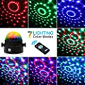 Party Light - Lunaoo Sound Activated LED Disco Ball Stage Light with Remote Control - RGB 7 Color Modes Strobe Lights - Add A Fun Touch to Dance Party Holiday Get-Together by Lunaoo