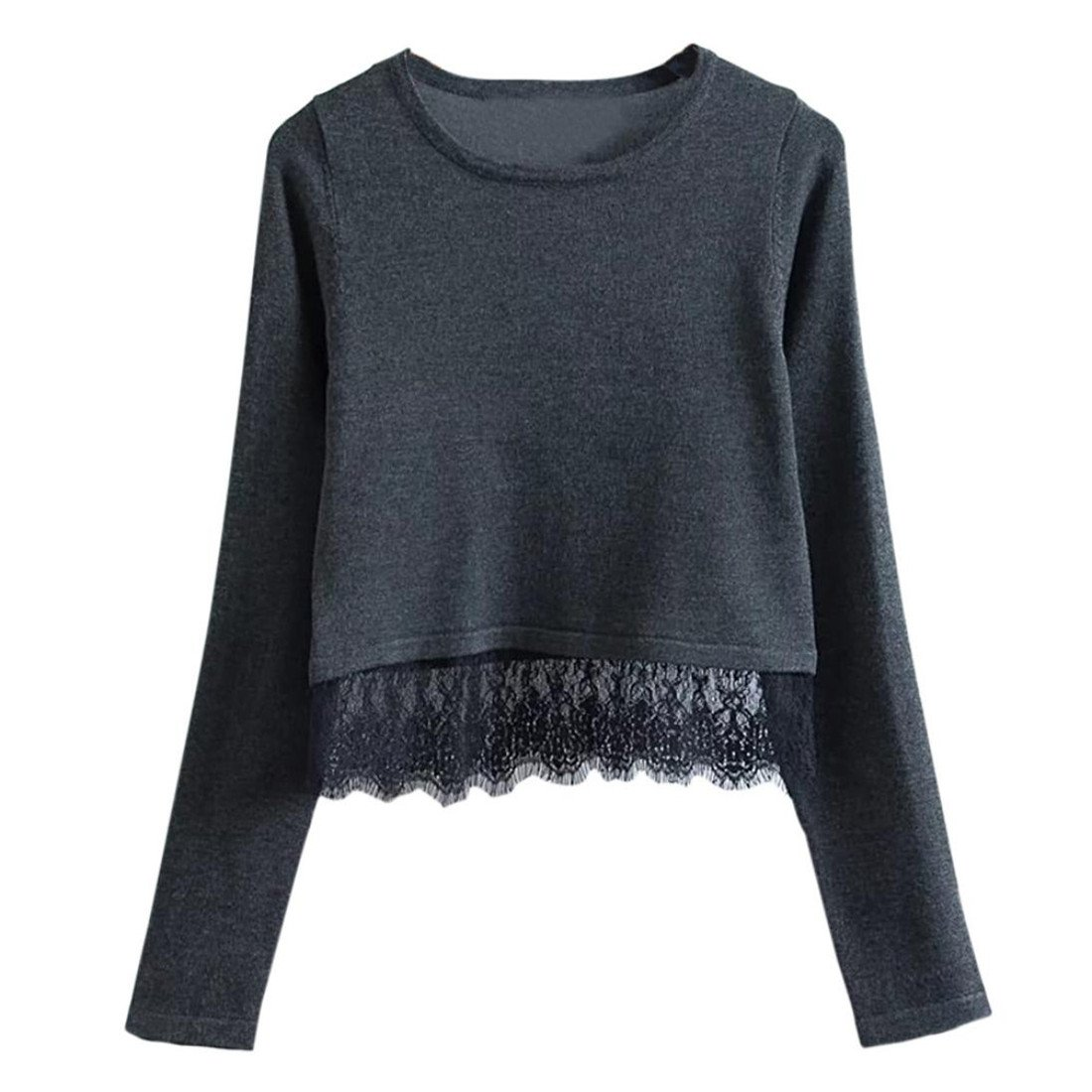 Pullover Damen Btruely Spitze Sweatshirt Langarm Sweater Tops Shirt (L, Schwarz)