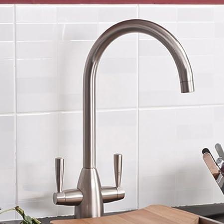 Ibathuk Modern Brushed Steel Kitchen Sink Mixer Tap Ibathuk