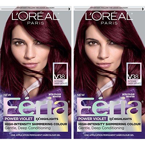 - L'Oréal Paris Feria Multi-Faceted Shimmering Permanent Hair Color, V38 Violet Noir, 2 COUNT Hair Dye