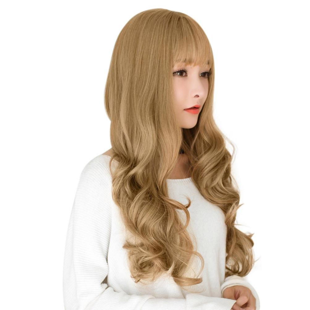 Amazon.com: Huphoon Wigs For Women Long Blonde Wavy Curly Pastel Silk Material Japanese synthetic Wig With Bangs (Gray): Beauty
