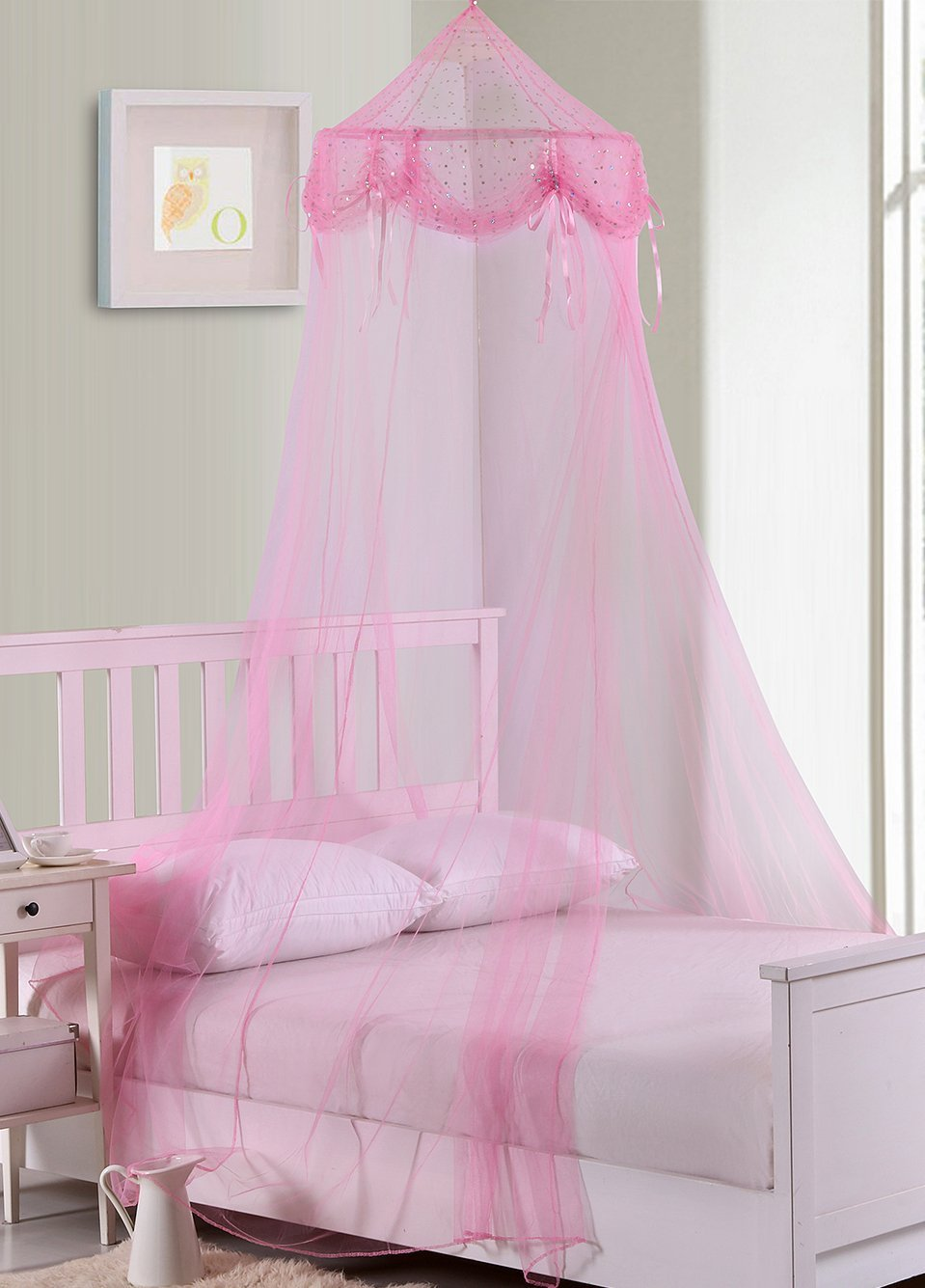 Fantasy Kids But Tons & Bows Collapsible Hoop Sheer Bed Canopy, One Size, Pink by Fantasy Kids