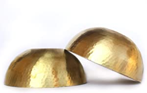 De Kulture Works Hand Made Brass Bowls Set Of 2 - 4.5X2 DH (Inches)Aroma Diffuser Bowl For Gifts Air Freshener Floating Candles Bowl Cereal Bowl (Gold)