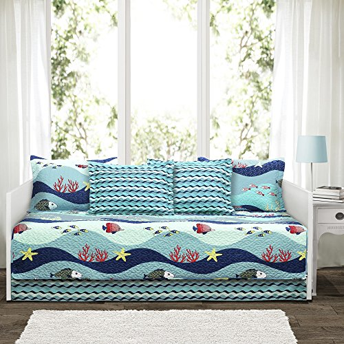 Lush Decor Lush Décor Sea Life 6 Piece Daybed Cover Set, Blue (Dolphin Twin Bed Set)