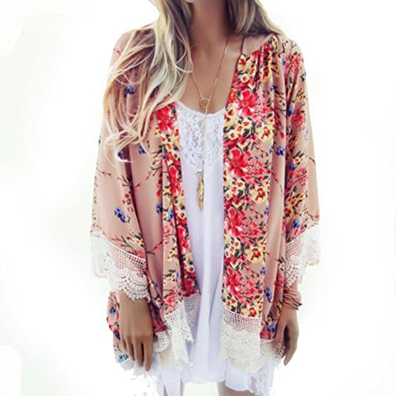 Amazon.com: Kimono Cardigan Lace,WuyiMC Women Flowy Sheer Crop ...