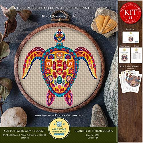 - Mandala Turtle #K481 Cross Stitch Embroidery Kit | Funny Animals Cross Stitch Patterns | How to Cross Stitch | Needlepoint Kits | Cross Pattern