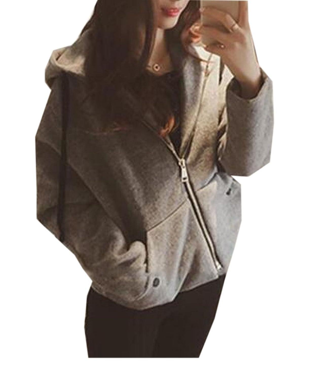 Comfy Women's Casual Long Sleeve Zipper Hooded Hoodies Tops