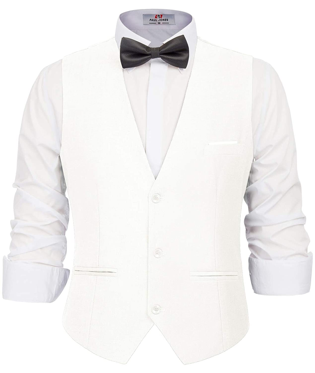1920s Style Mens Vests PAUL JONES Mens Business Suit Vests Slim Fit 3 Button Formal Waistcoat $24.99 AT vintagedancer.com