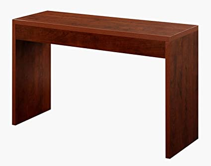 Beautiful Long Entryway Table Wooden Brown Finish Color Narrow Tall Rectangular  Minimal Plain Simple Low Profile Hall