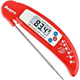 Anpro Digital Instant Read Cooking Thermometer with Stainless Probe, Red