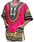 RaanPahMuang Unisex African Bright Dashiki Cotton Shirt Variety Colors, Small, Medium Pink