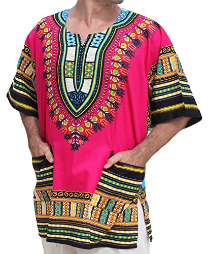 Raan Pah Muang RaanPahMuang Unisex African Bright Dashiki Cotton Shirt Variety Colors, Small, Medium Pink