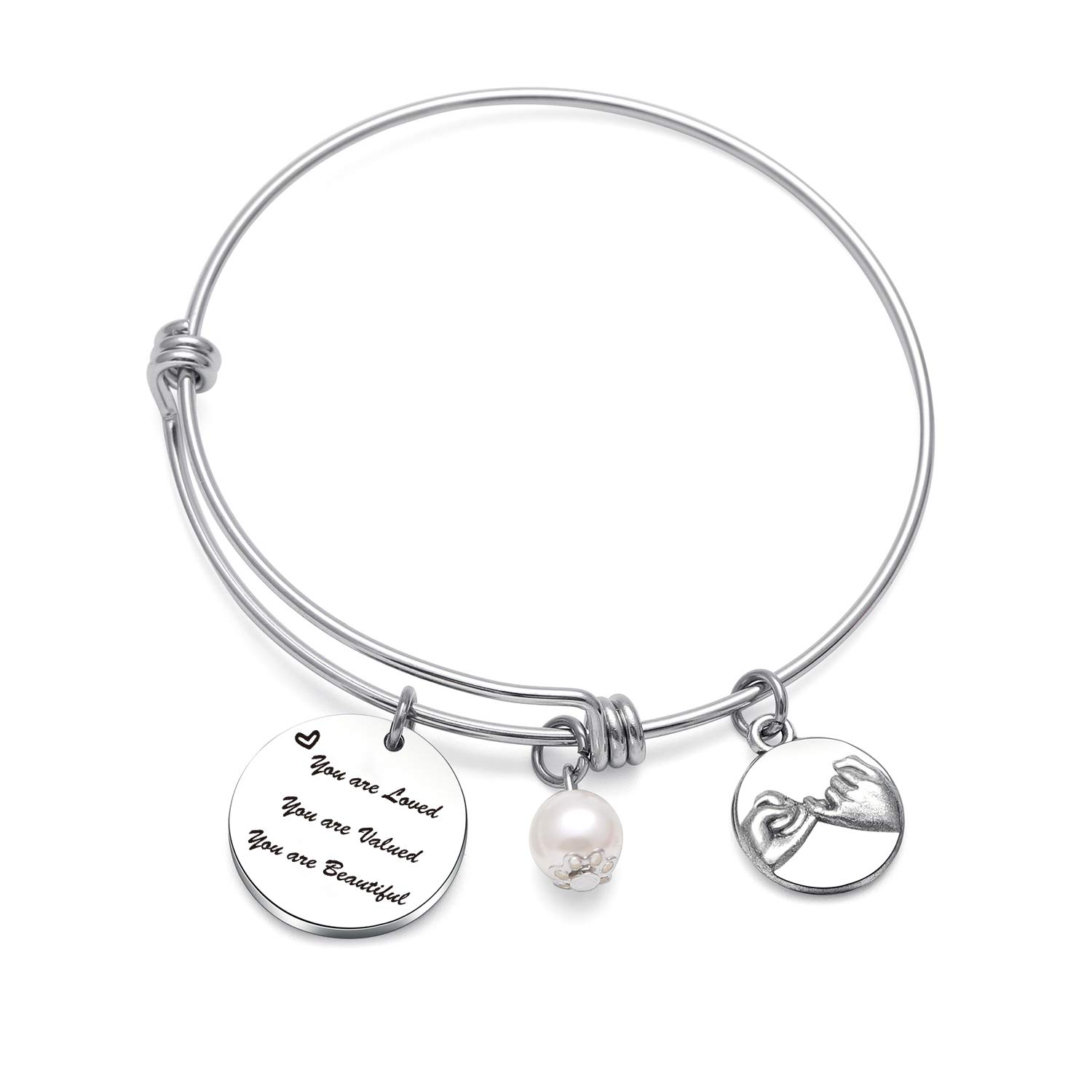 TzrNhm Blossom Inspirational Gift You are Loved You are Valued You are Beautiful Bracelet for Best Friends Sister Coworker Gift Wedding Birthday Gift
