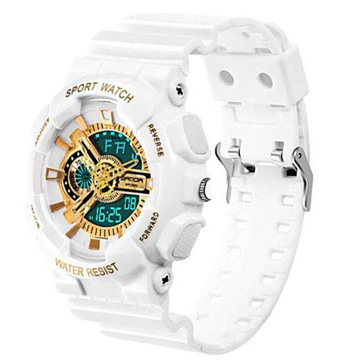 Boys Waterproof Watch with Alarm Chronograph Electronic Outdoor Sport Wrist Watch White+Gold by WZTSXB