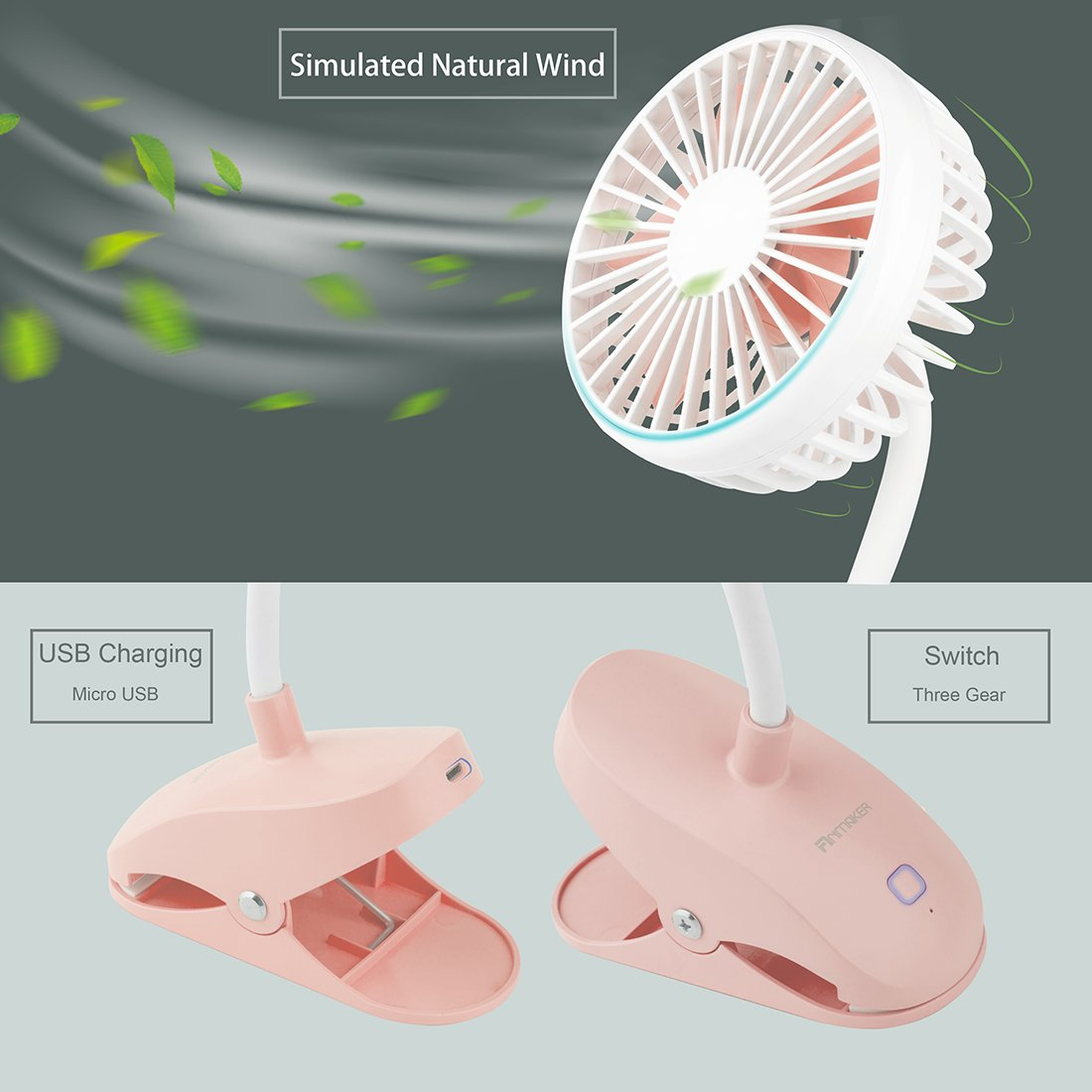 Anmaker Mini Baby Stroller Fan Clip on, 2000mAh Flexible Bent Portable Desk Personal Clip Cooling Fan Electric Pink with USB Charging Battery Operated 3 Speed for Baby,Office, Camping, Bedside, Beach by Anmaker (Image #4)