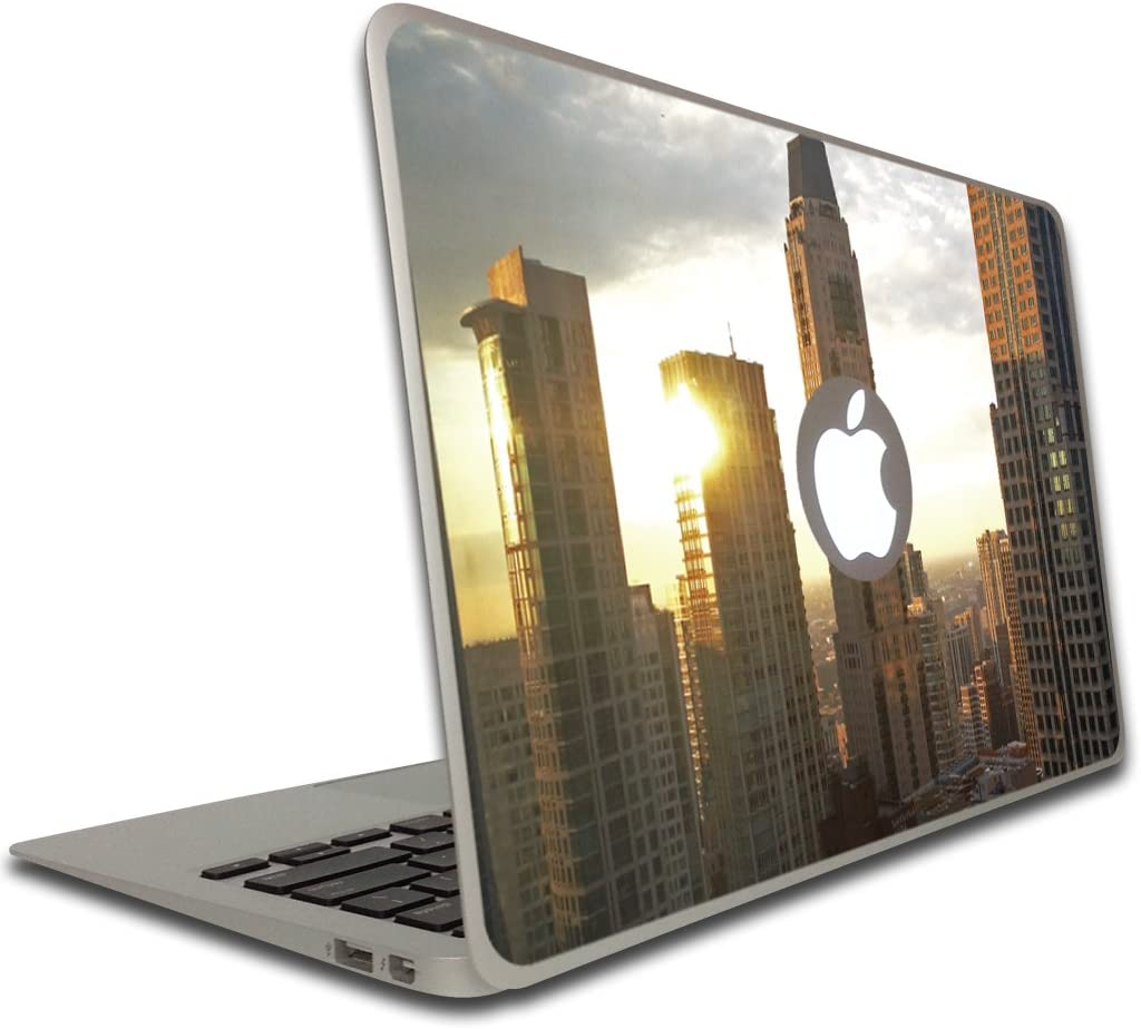 VictoryStore Removable Vinyl Cover - Chicago Downtown, Sunset, Vinyl Decal for MacBook Pro, Size 15 Inches