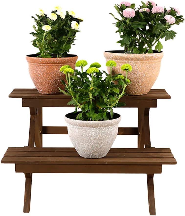 Worth Garden Ladder Plant Stand 2-Tier Wooden Planter Holder Flower Pot Display Shelf for Home Patio Lawn Garden Balcony