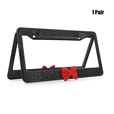 Kooun License Plate Frame for Women, Black Rhinestone License Plate Frame with Bow, 2 Holes Car Plate Covers Holders for US Vehicles, Pair: Automotive