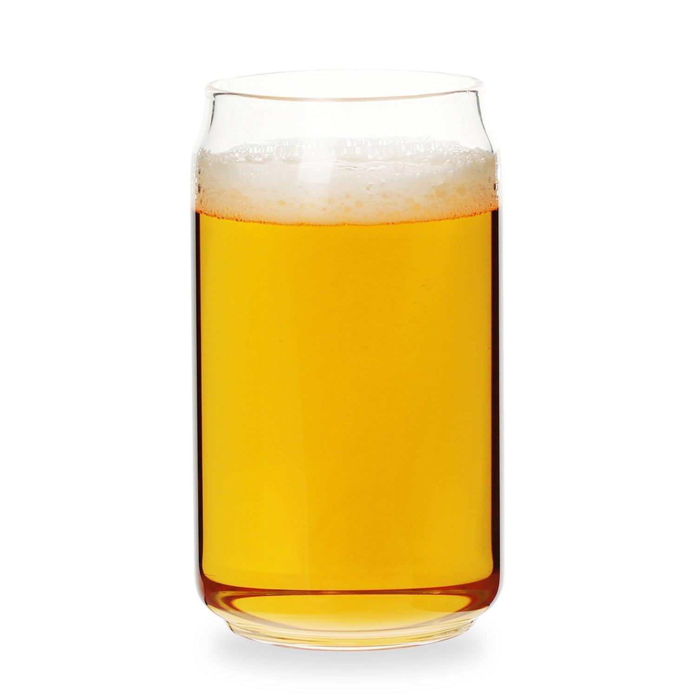 Can Shaped Beer Glass - 20 oz - 4 PACK w/Pourer, Beer glasses set of 4/Beer drinking glasses/tumbler for bock beer