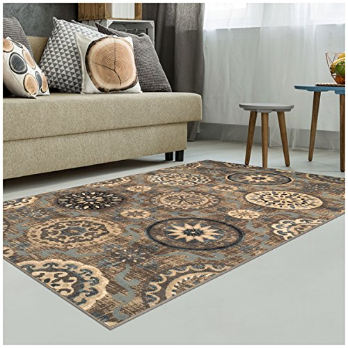 Cheap Superior Abner Collection Area Rug, 10mm Pile Height with Jute Backing, Fashionable and Affordable Rugs, Beautiful Scrolling Medallion Pattern – 8′ x 10′ Rug, Taupe with Blue and Grey