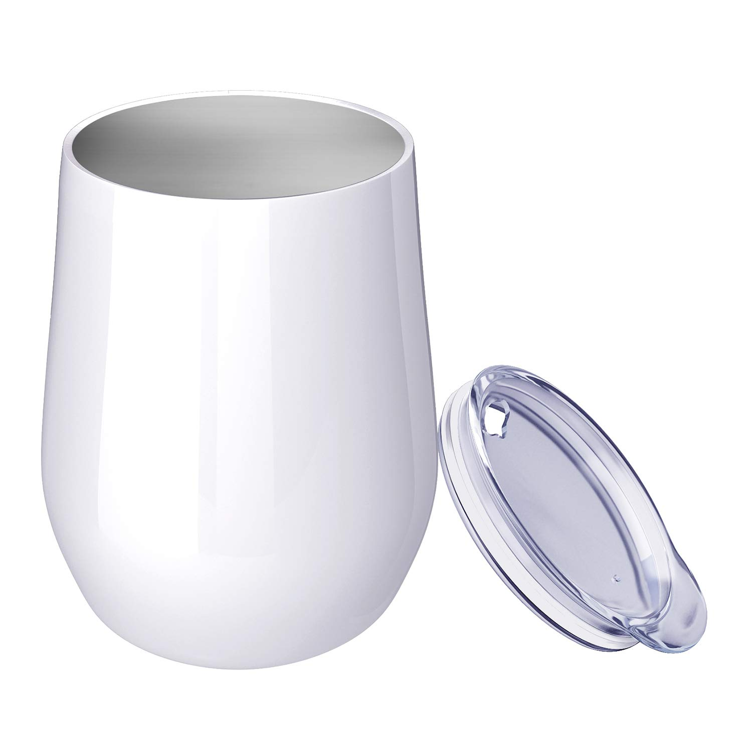Double Wall Vacuum Insulated Stemless Stainless Steel Wine Cup Gold2 2 Pack 12 oz Insulated Wine Tumbler Glasses with Lid
