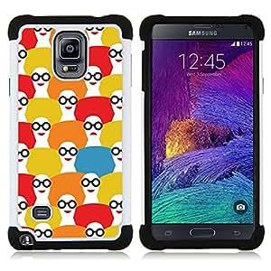 """Pulsar ( Patrón Fashion Girl Blanco Rojo"""" ) Samsung Galaxy Note 4 IV / SM-N910 SM-N910 híbrida Heavy Duty Impact pesado deber de protección a los choques caso Carcasa de parachoques [Ne"""