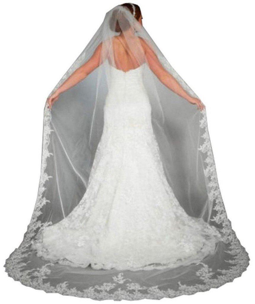 WAJY Lace Edge Cathedral Length Long Bridal Wedding Bridal Veil+Comb ...