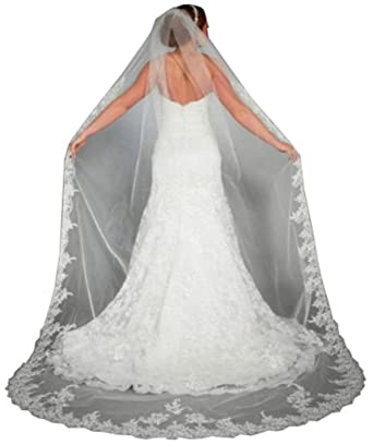 WAJY Lace Edge Cathedral Length Long Bridal Wedding Veil Comb Ivory