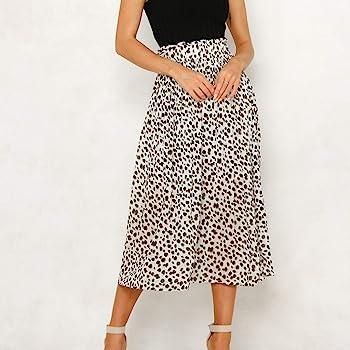Cinnamou Faldas para Mujer Elegantes Cintura Alta Falda Larga ...