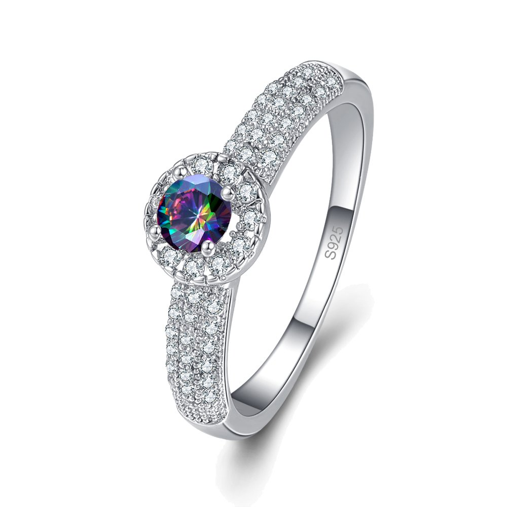 Psiroy 925 Sterling Silver Created Rainbow Topaz Filled Round Cut Dainty Stackable Halo Engagement Ring for Women Size 9
